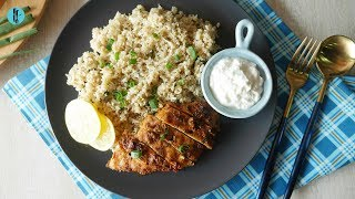 Keto Cauliflower Garlic Rice with Spicy Grilled Chicken Recipe By Healthy Food Fusion