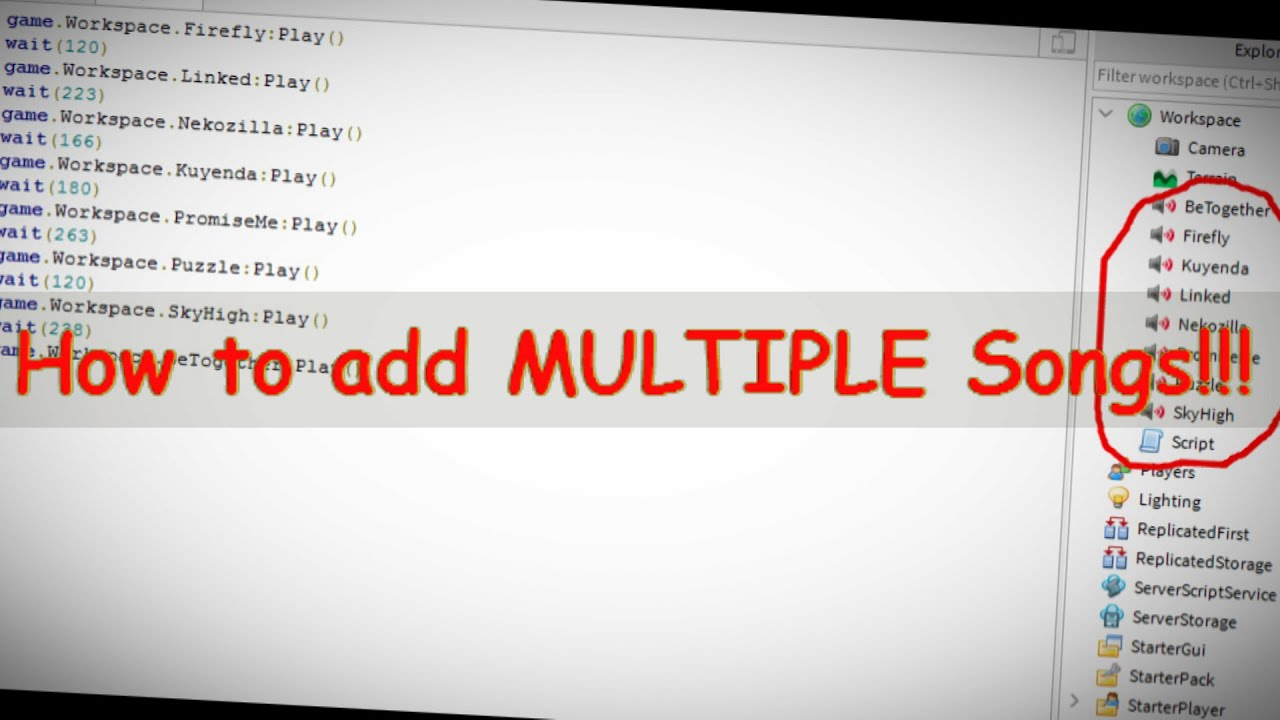 Read Desc How To Add Multiple Songs To Your Roblox Game Roblox
