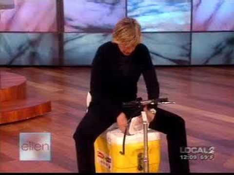 Ellen Riding a Cooler