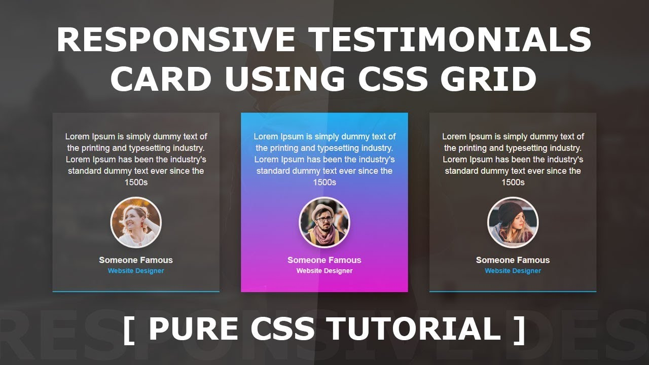 Responsive Testimonials Card UI Design Using CSS Grid | Cool CSS Hover  Effects