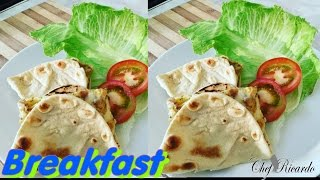 Flat Breads With Eggs And Cheese For Breakfast   Recipes By Chef Ricardo