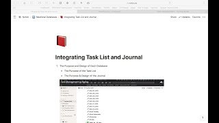 Creating a Relational Database Between a Journal and a Task List