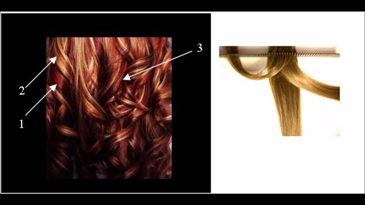 En cabello rizado color rubio hacer mechas con tinte color
