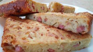 Пирог с ветчиной и сыром идеально для завтрака