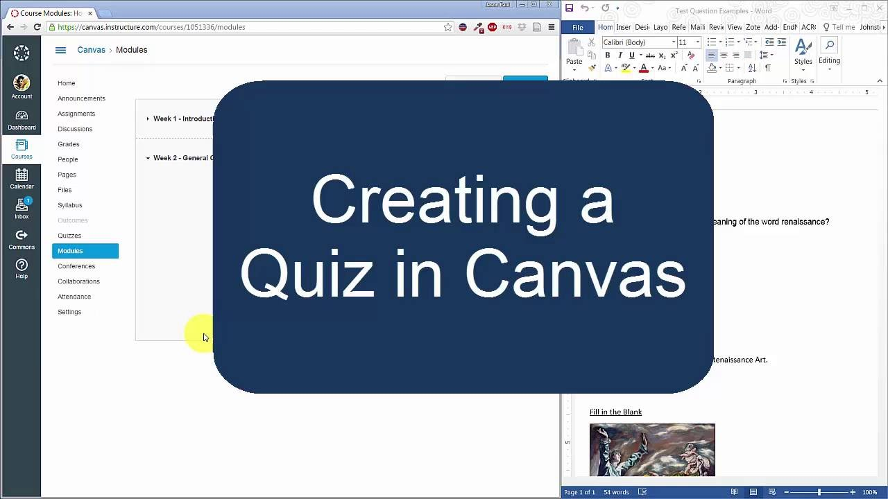 Creating a Quiz in Canvas Instructure