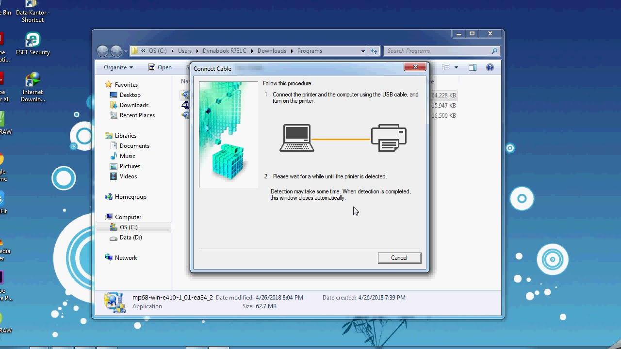 how to install printer canon mp e410 series