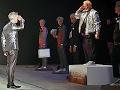 Buzz Aldrin and Bill Nye walk in fashion show