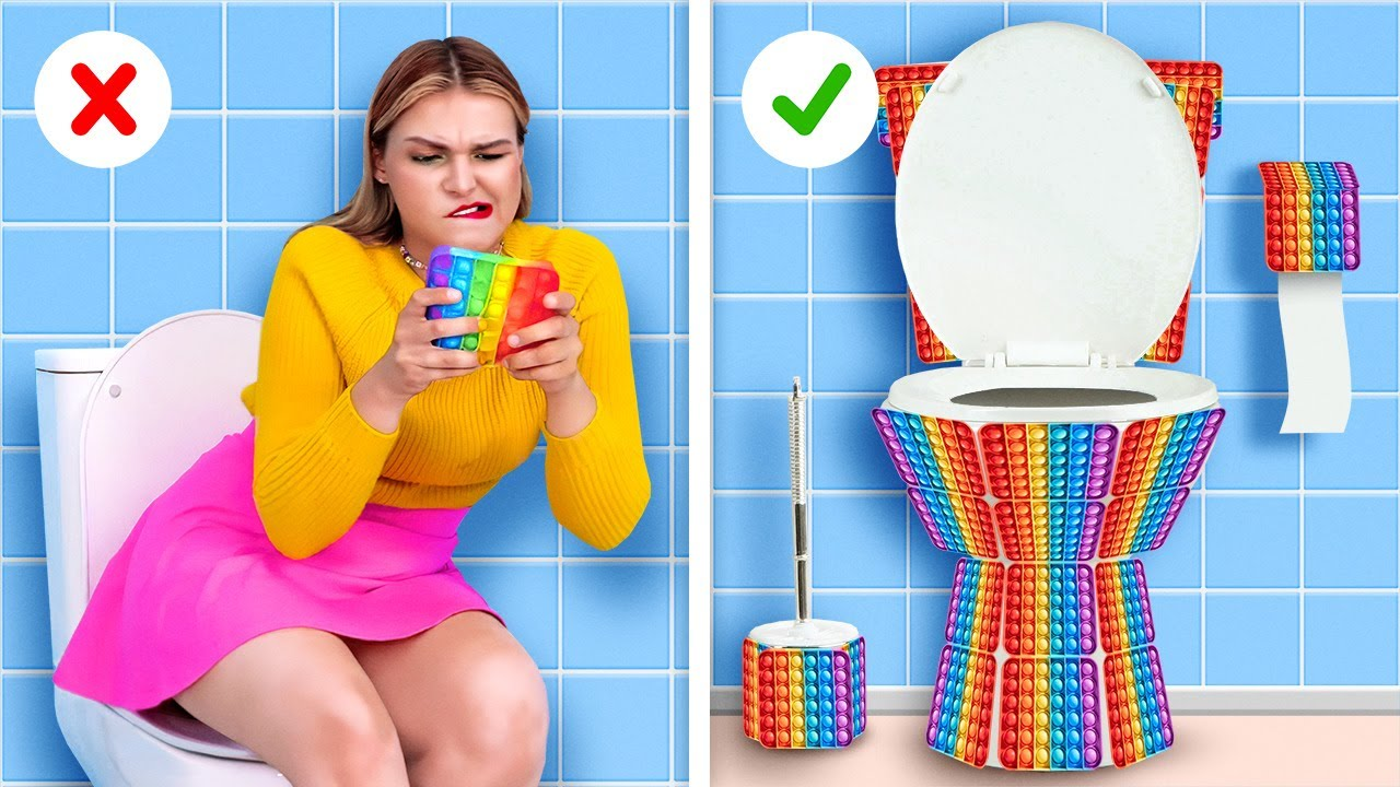POP IT Toilet! 🚽 Toilet and bathroom hacks and Cute crafts from a fidget toy