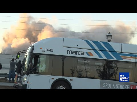 Bus Parks Directly In Front Of Georgia Dome Implosion