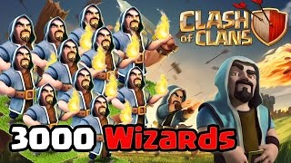 Clash of Clans - 3000 wizards Raid (Massive Gameplay)