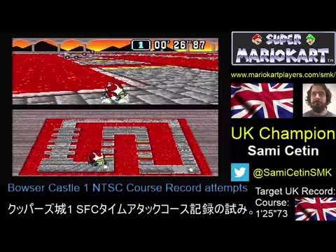 Super Mario Kart SNES Time Trial NTSC Bowser Castle 1 Course: 1'25