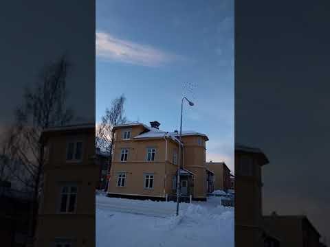 Fighter jets flying in christmas tree formation over Umeå Sweden