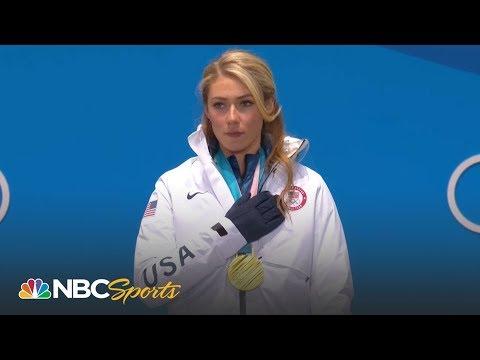 Medal ceremony: Mikaela Shiffrin gets giant slalom gold