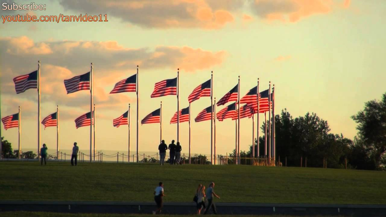 American Flags In Circle Around Washington Monument