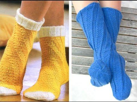 Вязание носков с спиралью 332
