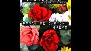 Repeat youtube video Rosas de cartón de huevo y limpiapipas Roses made of recycled EGG carton