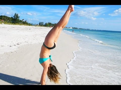 HOT GIRL DOES HANDSTANDS ON THE BEACH (11-6-13) [8]
