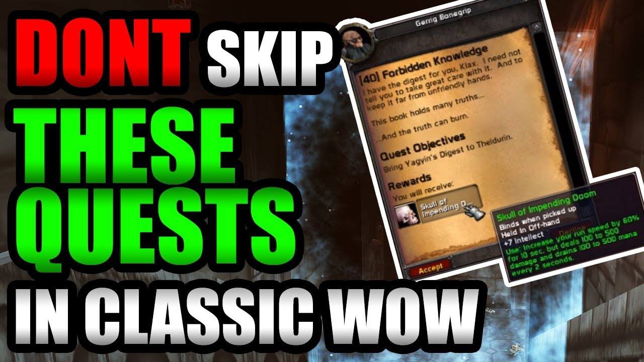 Dont Skip These Quests While Leveling In Classic Wow Youtube