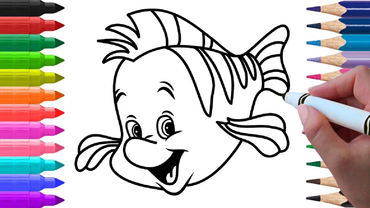 flounder disney drawings easy www topsimages com