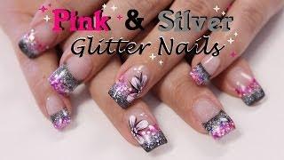 Black, silver & pink glitter acryl +NailArt   beautynailsfun.nl