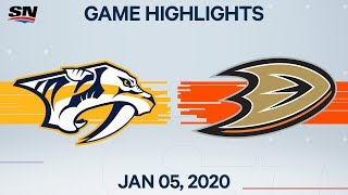 NHL Highlights | Predators vs Ducks - Jan. 5, 2020