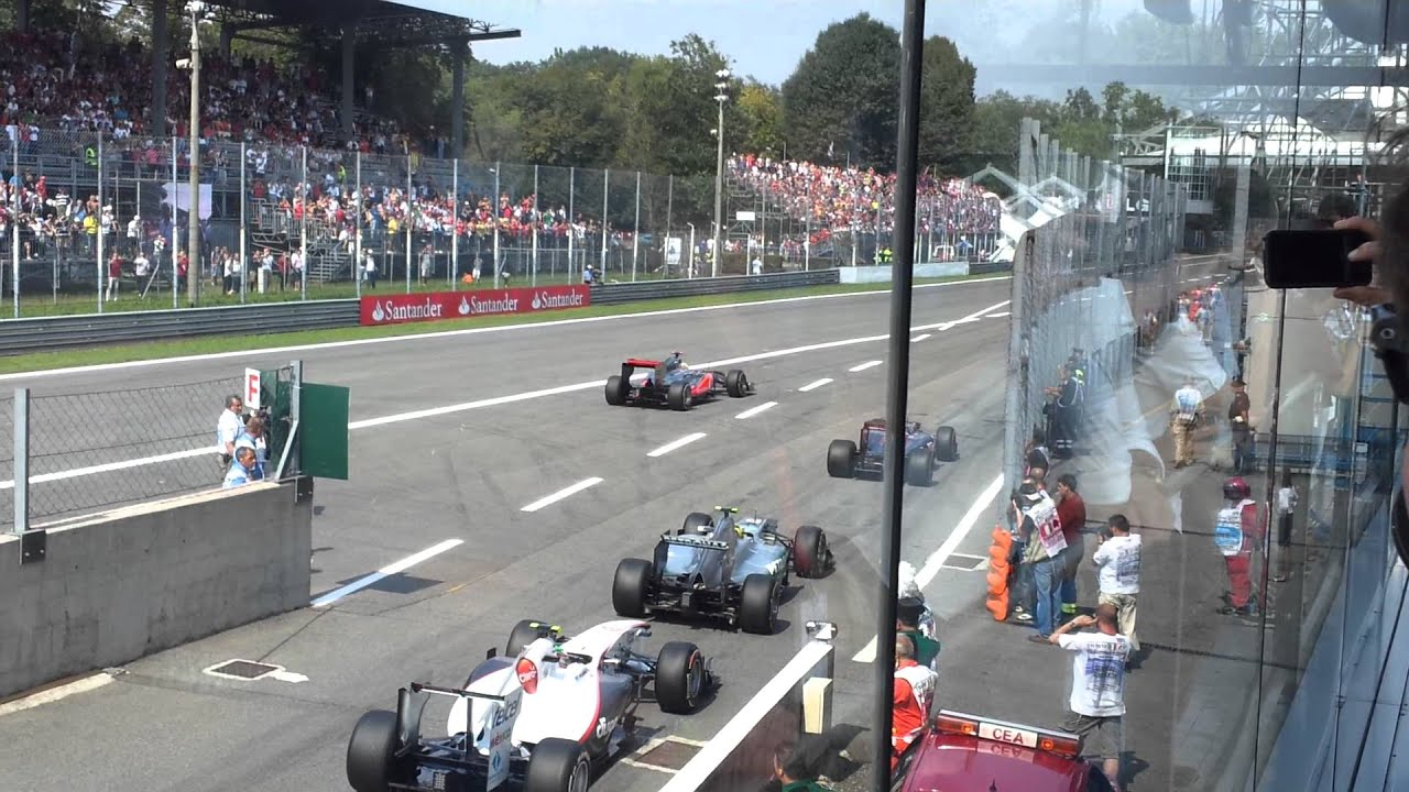 F1 2011 MONZA TEAM LOTUS VIP BOX SEAT GRID OUT LAP - YouTube