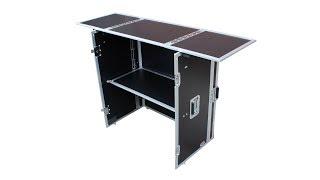 ProX XS-DJSTN BL Portable Foldout Mobile DJ Combo Table Desk Facade w// Wheels
