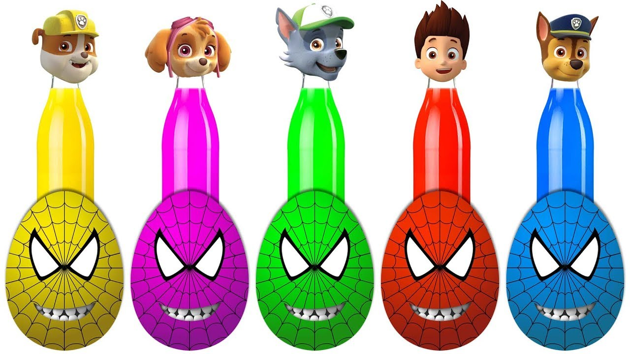 Spiderman Surprise Eggs Paw Patrol Ryder Chase Finger Family Colors ...