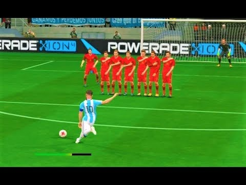 Russia vs Argentina / L. Messi Free Kick Goal & Full Match 2017 / Gameplay PES