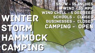 Winter Storm Hammock Camping