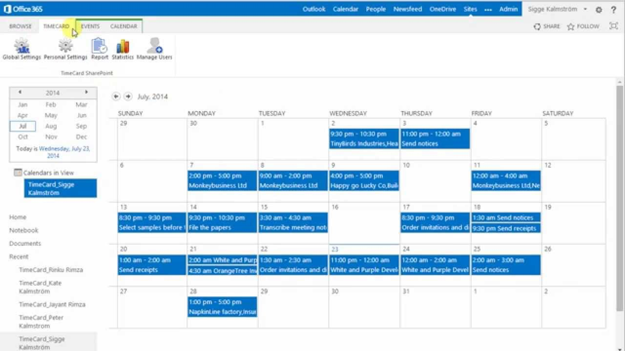 timecard for sharepoint presentation youtube