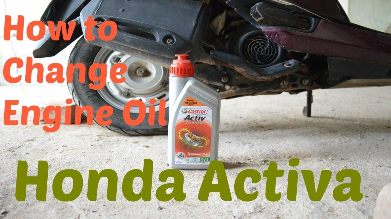 change engine oil in honda activa - YouTube