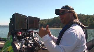Using the Raymarine to find Topwater areas on Pickwick lake