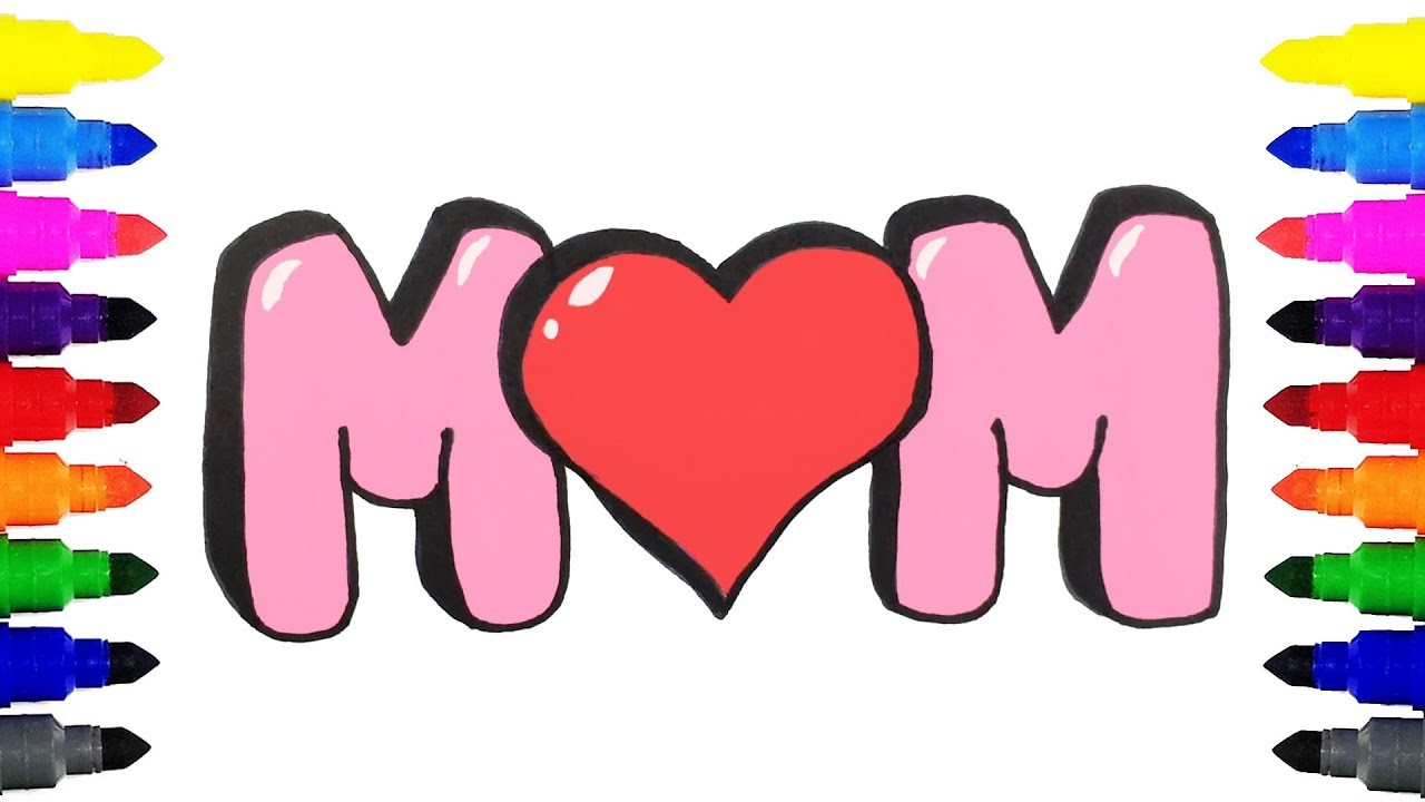 How to Draw MOM in Bubble Letters | Drawing and Coloring MOM in ...