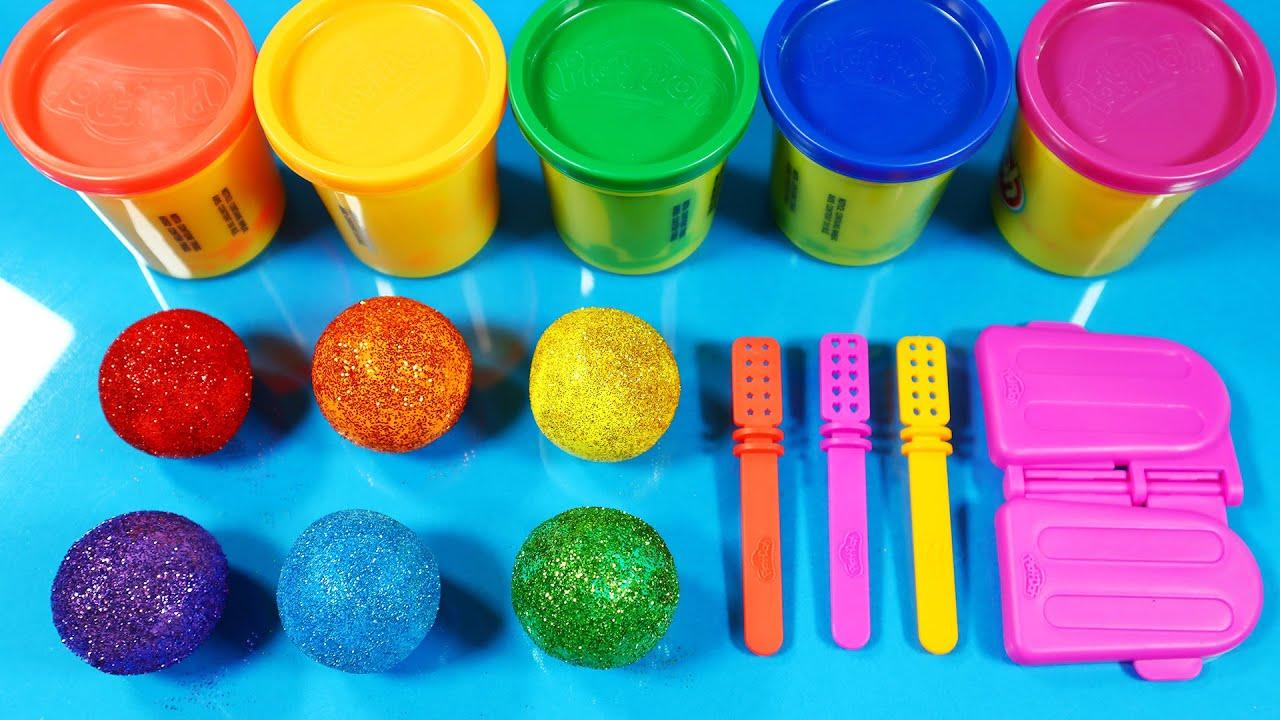 점토 자르기 아이스크림 만들기 How To Make Ice Cream Playdoh Rainbow Cutting Glitter Satisfying Video ASMR