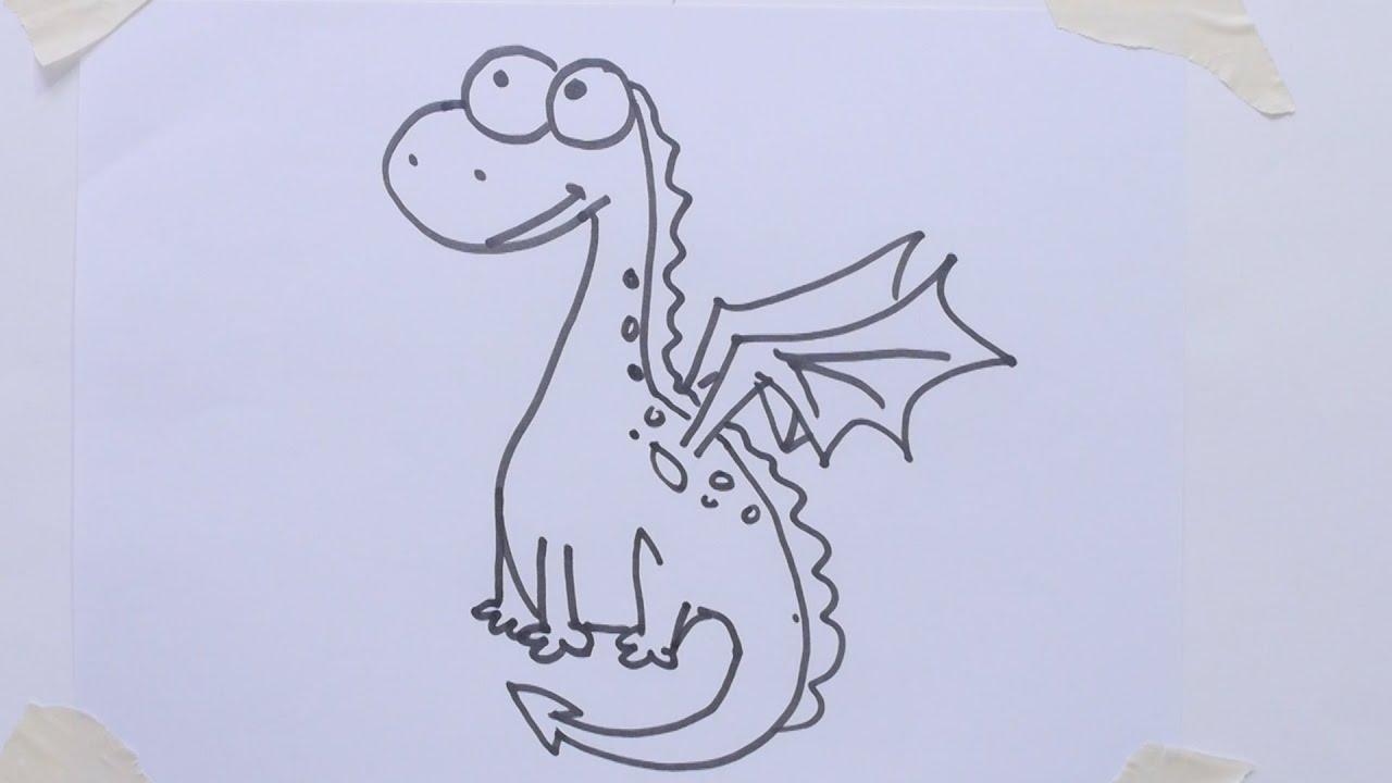 how to draw cartoon dino dragon youtube