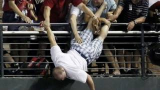 Man Almost Falls at All-Star Game: Discusses Donating to Texas Rangers Fan