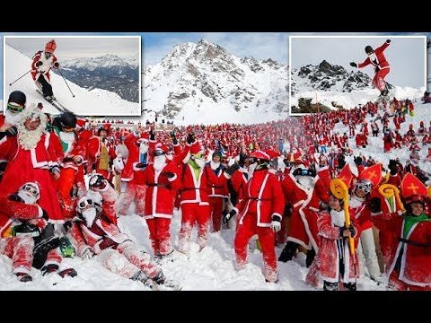 Christmas in Alps sees 2,600 Santas gather for skiing fun