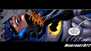 "Tim Drake (dressed as Batman) Vs Jason Todd (dressed as Batman) from the comic ""Battle For The Cowl"""