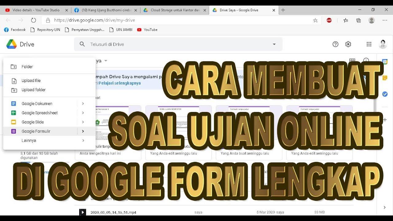 Cara Membuat Soal Ujian Di Google Form Langsung Keluar Nilai Youtube
