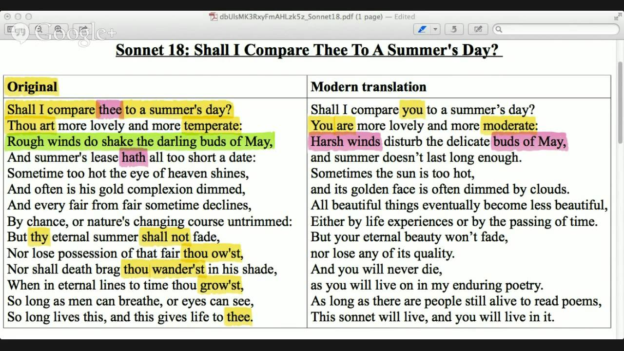 advanced english reading class shakespeare s sonnet  advanced english reading class shakespeare s sonnet 18