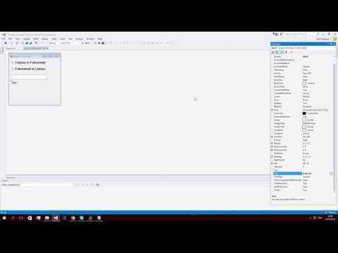 Visual Studio 2015 - C# - Degrees Converter Tutorial  (C to F)