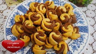 Красивое и ВКУСНОЕ песочное печеньеРОЗОЧКИРецепт ванильного и шоколадного песочного печенья
