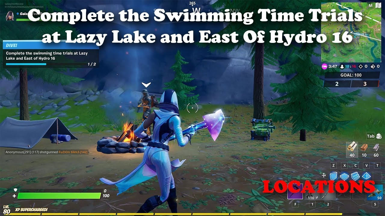 Complete The Swimming Time Trials At Lazy Lake And East Of Hydro 16 Locations