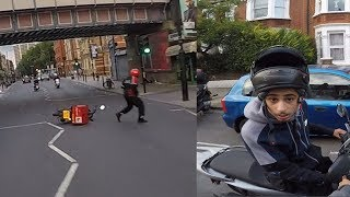 'Suspected Moped Thief' crashes into pizza delivery man CHASE London
