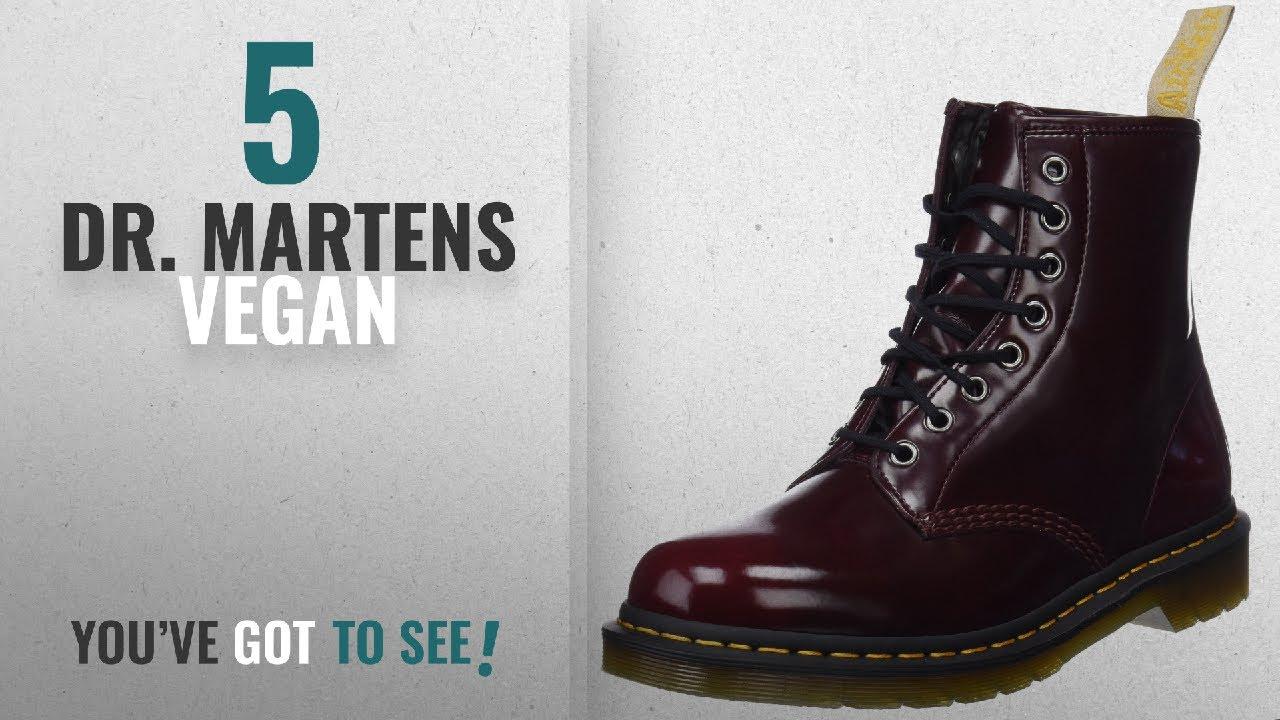 a69b23ebd7 Top 5 Dr. Martens Vegan [2018]: Dr. Martens Unisex 1460 Vegan 8-Eye Boot  Cherry Red Cambridge Brush