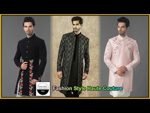 Party wear Designer Indo western Sherwani Jacket Suit designs Boys Men- Fashion Style Haute Couture