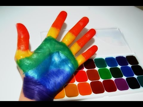 ✿ Учим Цвета с Акварельными красками.Песенка про пальчики Игры для детей