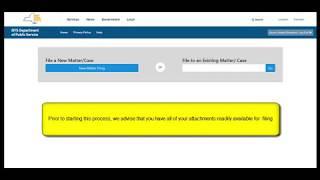 E-Filing: New Matter Filing Instructions