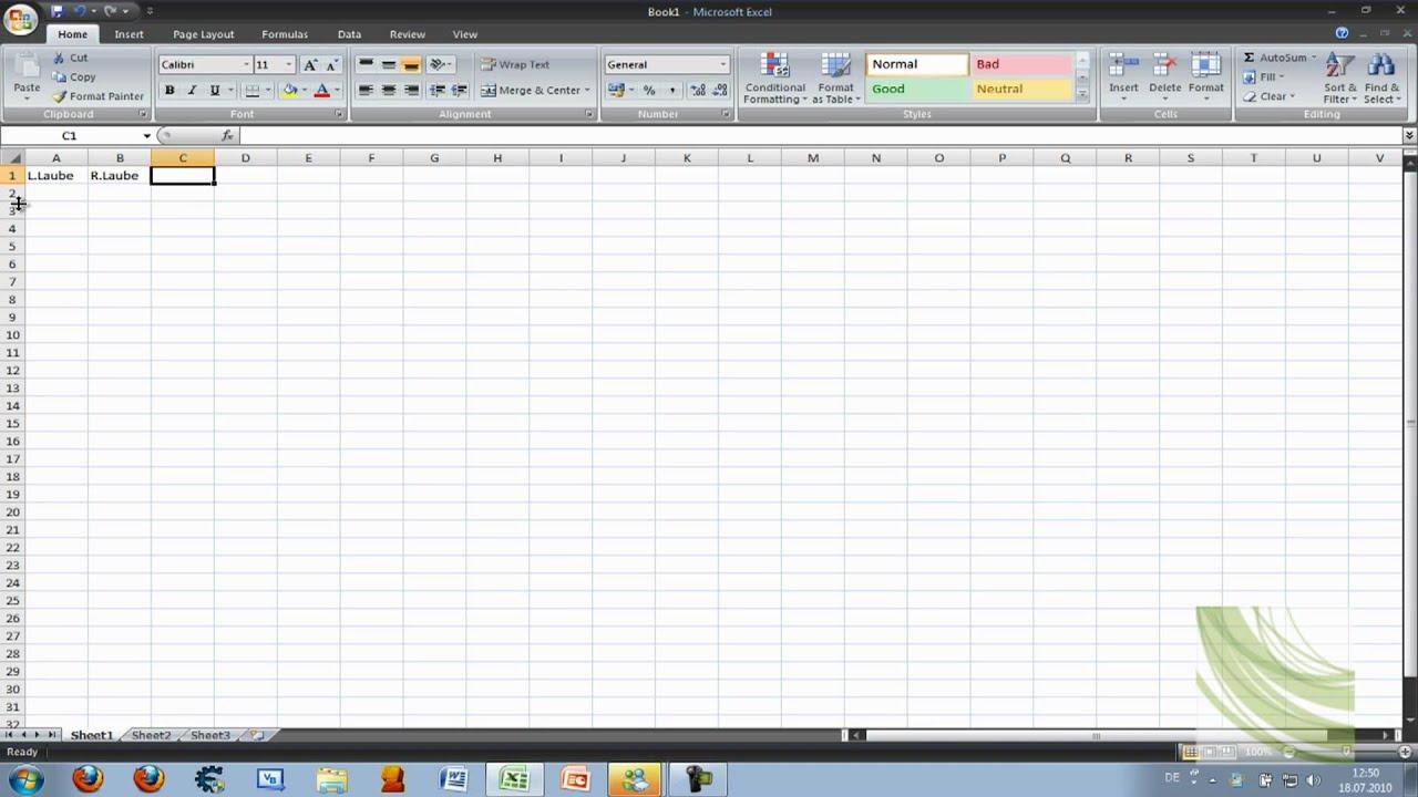 Microsoft Office Excel 2007 Tutorial: Diagramm Erstellen - YouTube